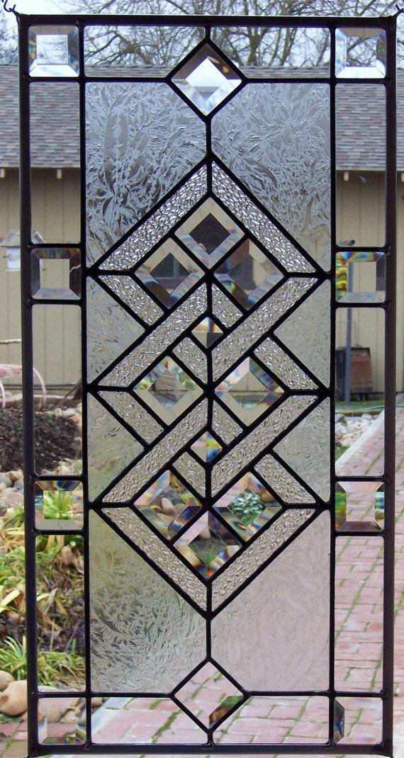 Interlocking Diamonds Stained Glass Window