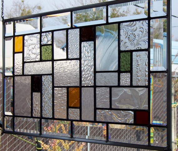 Earth Tones Stained Glass Window