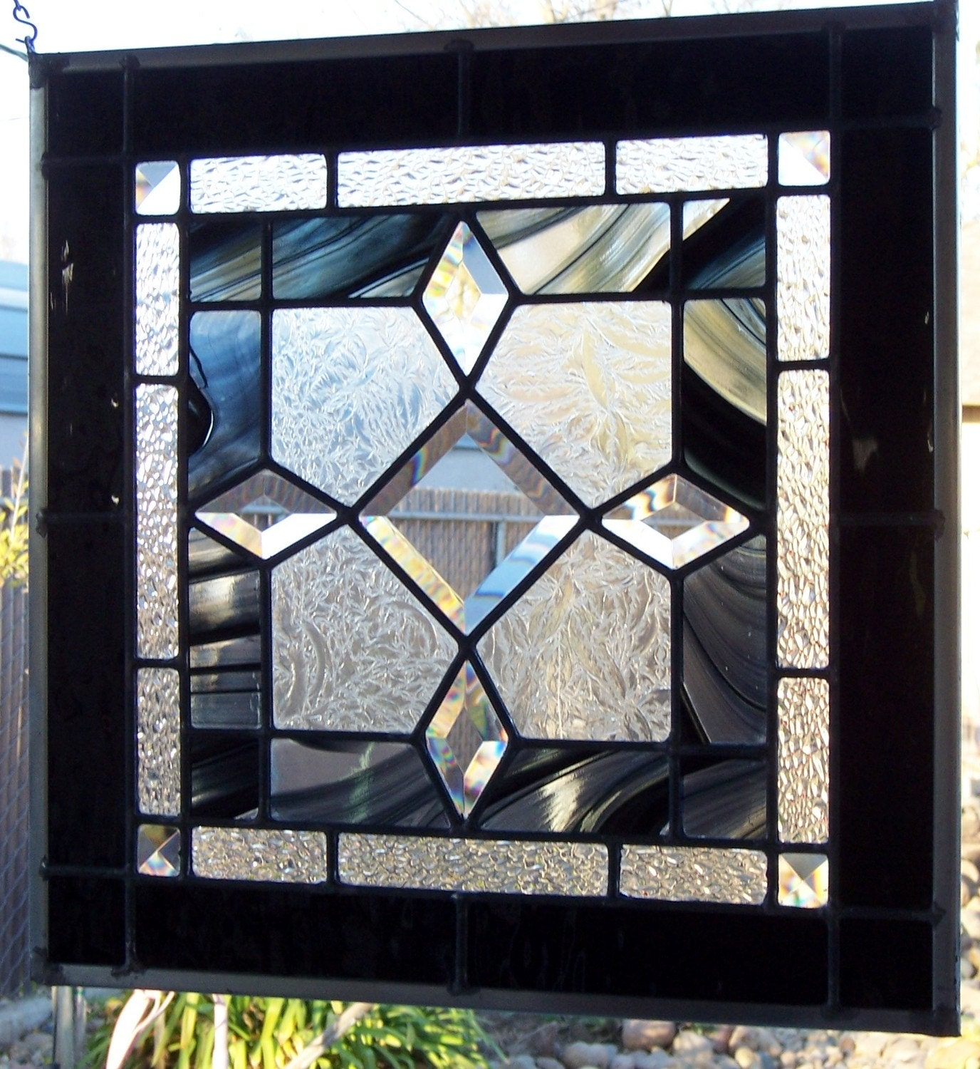 Black And Clear Beveled Stained Glass Window By Debsglassart