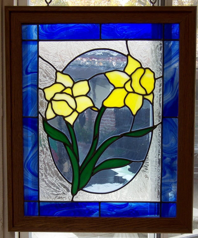 daffodils stained glass window framed in oak