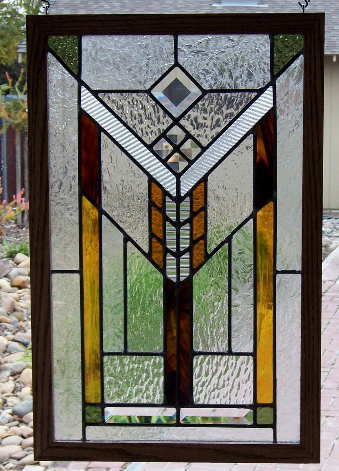 Mission prairie stained glass window in earth tones for Window glass styles