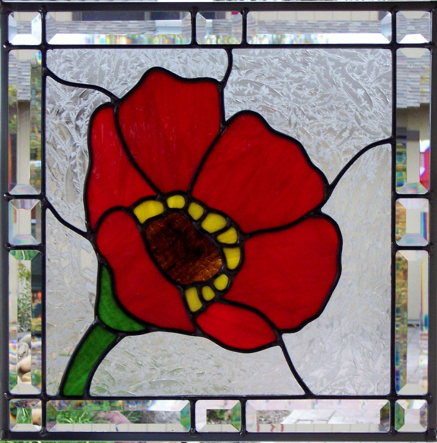 Red Stained Glass : Red poppy stained glass window