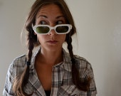 Vintage 1980s Cool Ray Polaroid Sunglasses White Frames with Funky Green Lenses