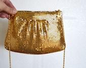 Gold Chain Mail Chain Strap Purse / Vintage 1960s