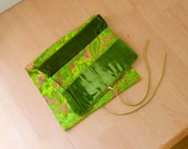 Vintage 70s Travel Pouch Lime Green Paisley and Velvet Fabric Fold Up Case