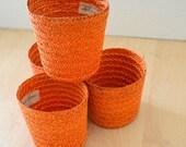 Vintage Burnt Orange Japanese Woven Straw Cup Cozies Set