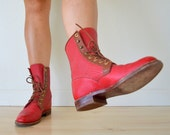 Vintage 60s Red Leather Lace Up Justin Boots Mens 5.5 / Womens 7.5