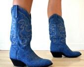 Vintage Blue Denim Mid Calf Cowboy Boots Womens Size 7