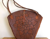 Large Honey Brown Leather Tote Bag Vintage 70s from Cuba