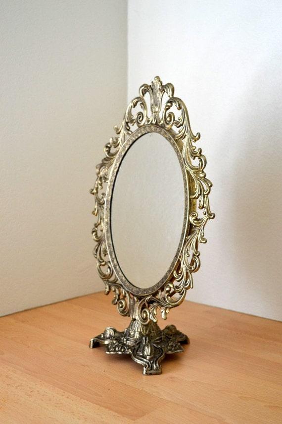 Vintage Ornate Standing Vanity Mirror Victorian Scrolled
