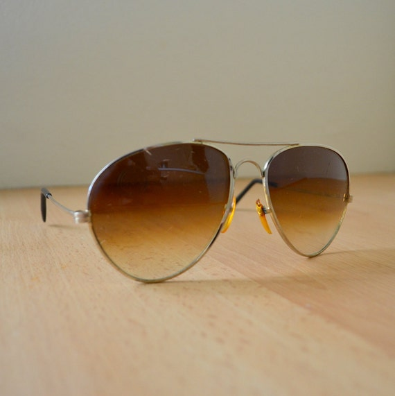 Vintage 1970s Aviator Sunglasses Brown Tint Lenses