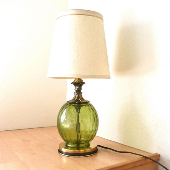 Vintage 60s Green Glass Globe Bedside Table Lamp