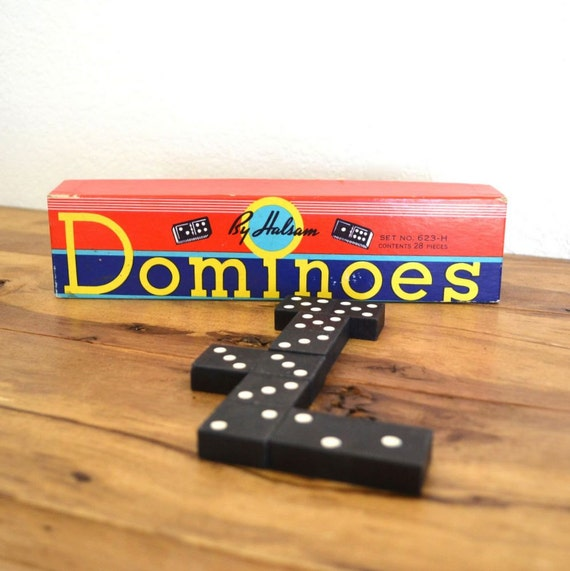 1950s Set of Halsam Dominoes in Box 28 Wood Pieces Set No. 623-H