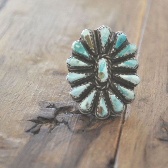 Vintage Raw Turquoise and Silver Navajo Ring Size 8.5 / 9