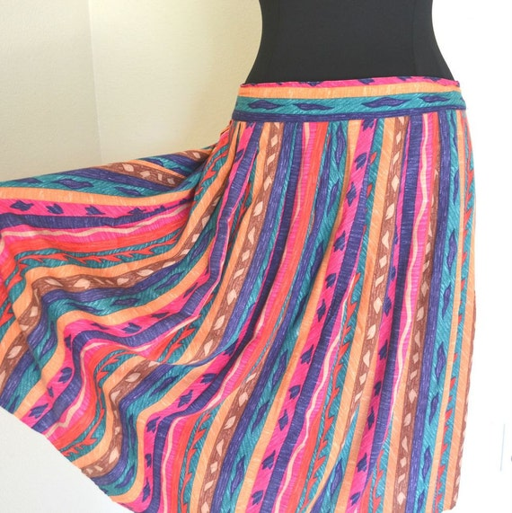 Vintage Spring Tribal Stripe Free Flowing Skirt Womens Plus Size 20W