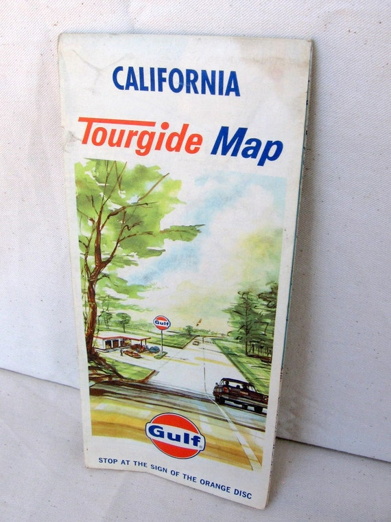 Fold-up Tourguide Vintage 60s California Map by Gulf Gas Paper Map for Framing
