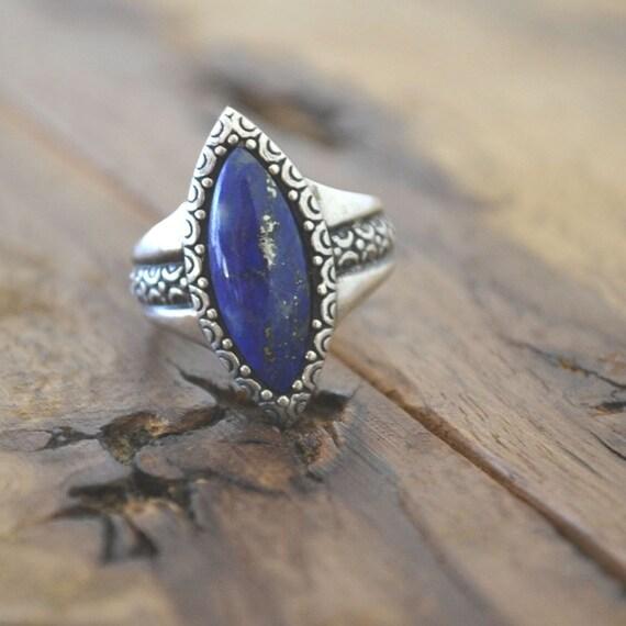 Vintage Sterling Silver Lapis Lazuli Ring Size 7