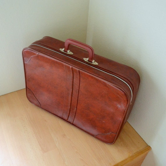 Vintage 80s Faux Leather Suitcase Maroon Travel Luggage