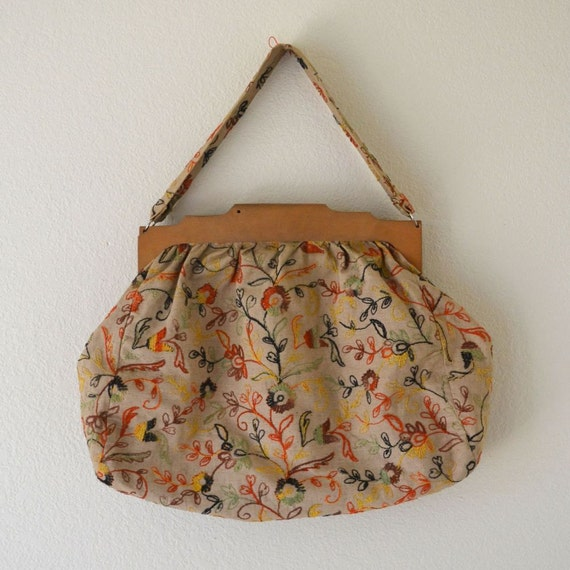 Natural Hippie Large 70s Embroidered Handbag