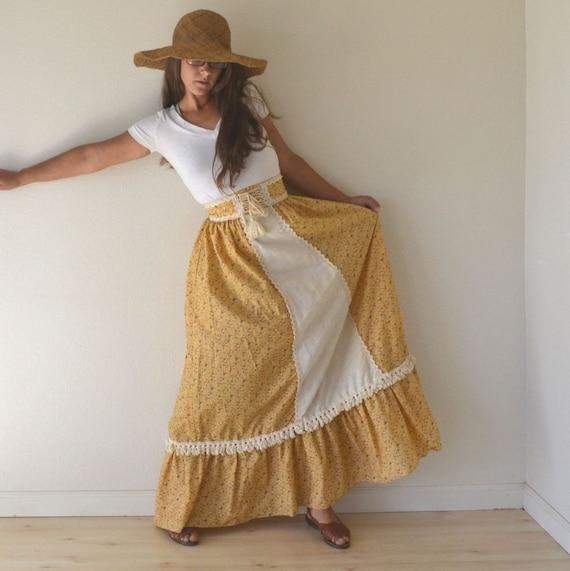 70s High Waist Prairie Boho Yellow Floral Skirt Small