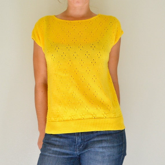 Sunny Yellow Vintage 80s Knit Short Sleeve Sweater Womens Small