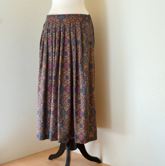 Vintage Warm Autumn Paisley Print Ankle Length Skirt Womens Small