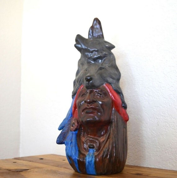 Vintage Indian Chief and Wolf Totem Ceramic Statue