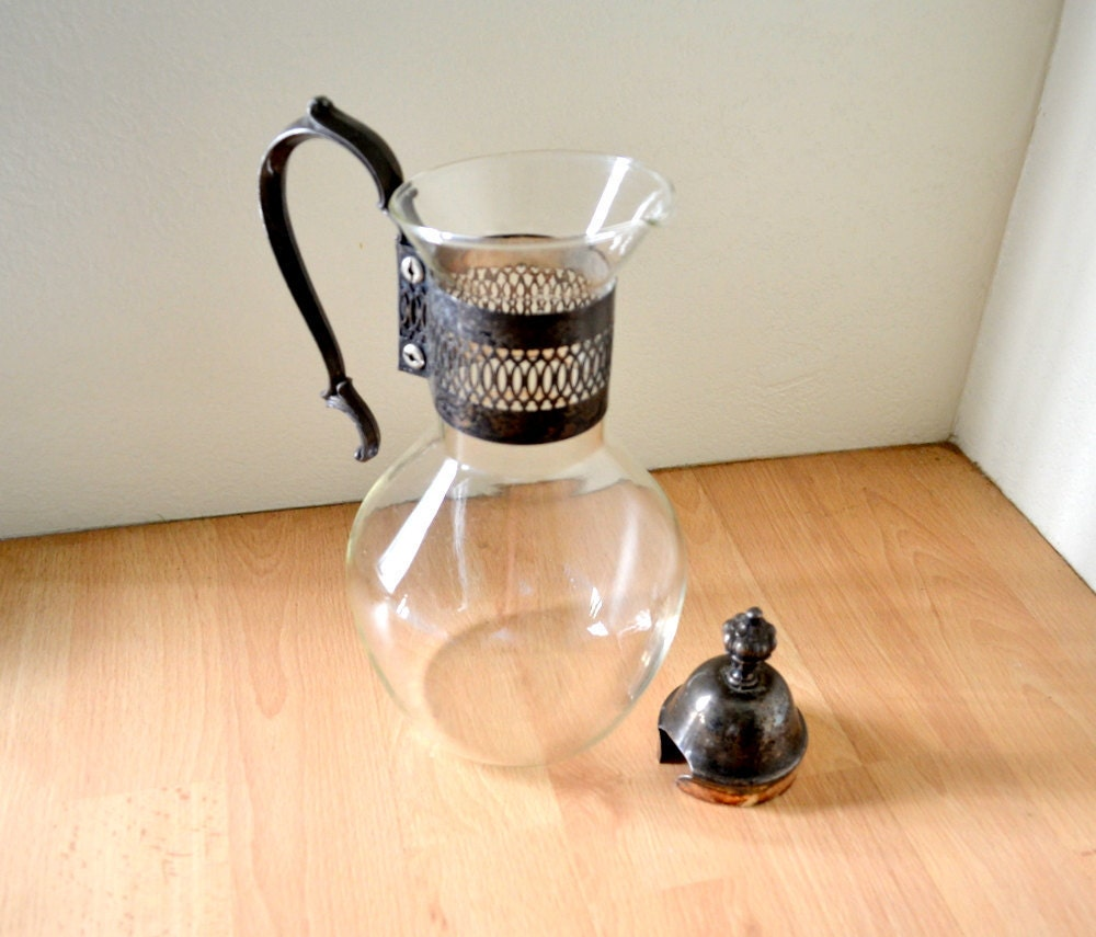 Vintage corning ware glass carafe coffee and tea pitcher with - Heat proof pitcher ...