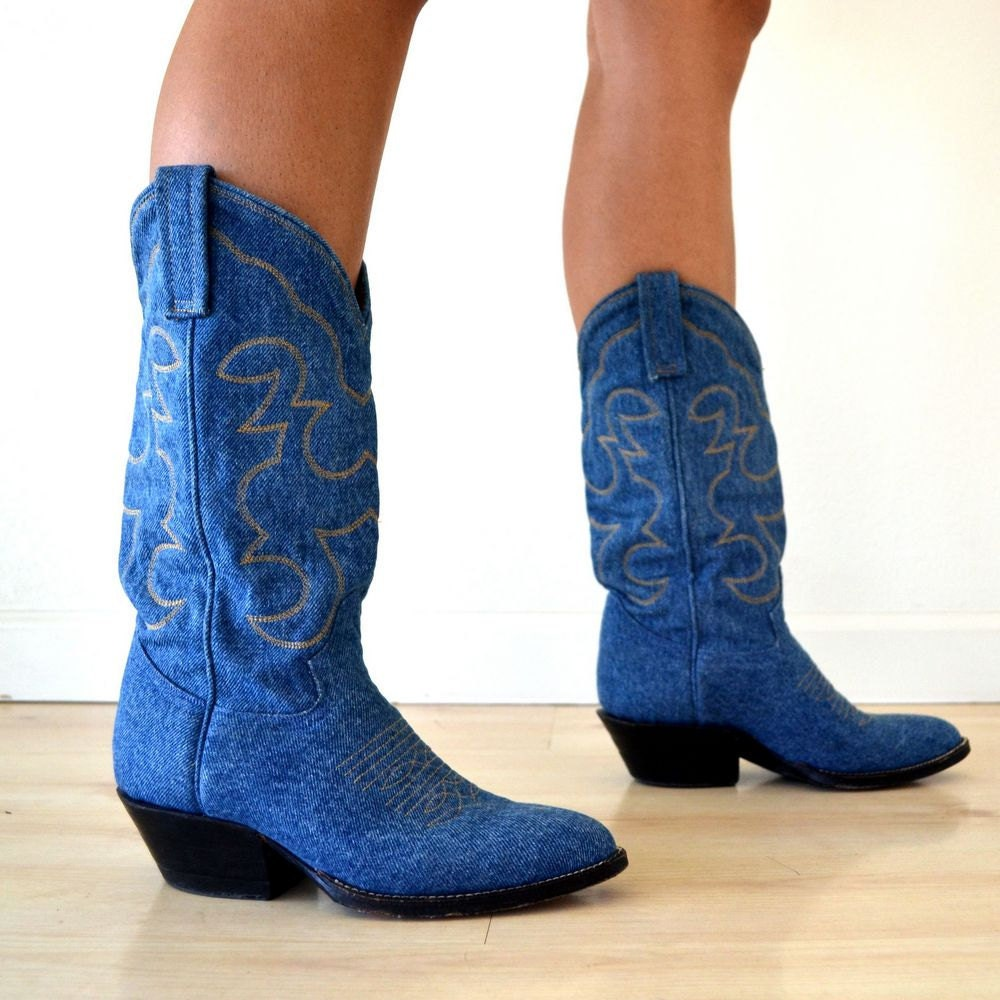 Vintage Blue Denim Mid Calf Cowboy Boots by StoryTellersVintage