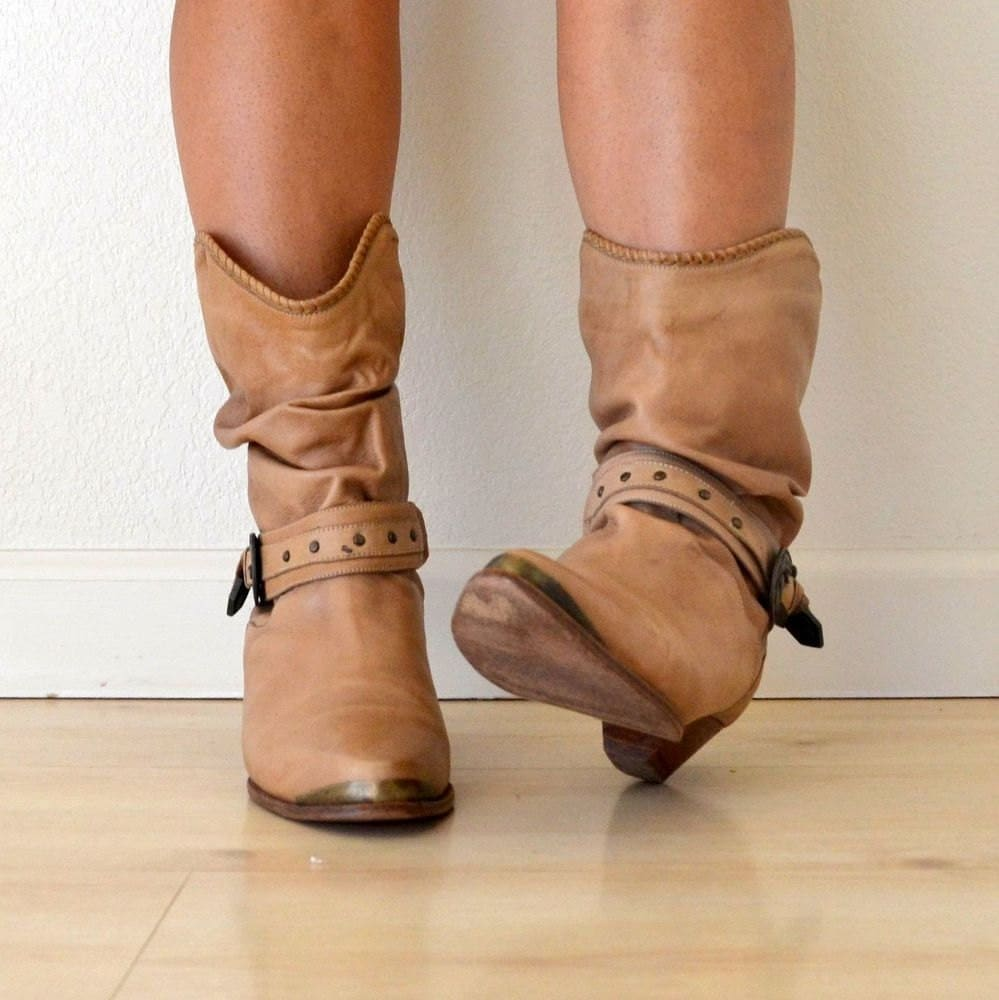 Vintage Caramel Tan Leather Slouch Cowboy Boots Womens Size