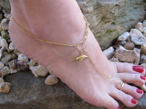 Gold Dolphin Ankle Bracelet with or without Toe Ring     Charm Anklet FREE US Shipping