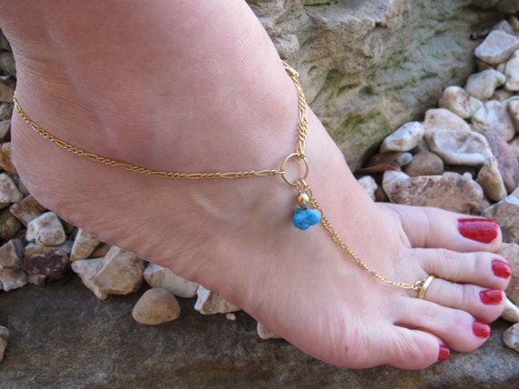 Turquise & Gold Filled Anklet with or without Toe Ring adjustable Ankle Bracelet Charm