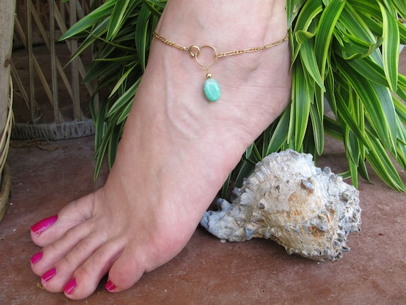 Lime Green Variscite Gold Anklet with or without Toe Ring Adjustable Ankle Bracelet Summer Fun  FREE US SHIPPING