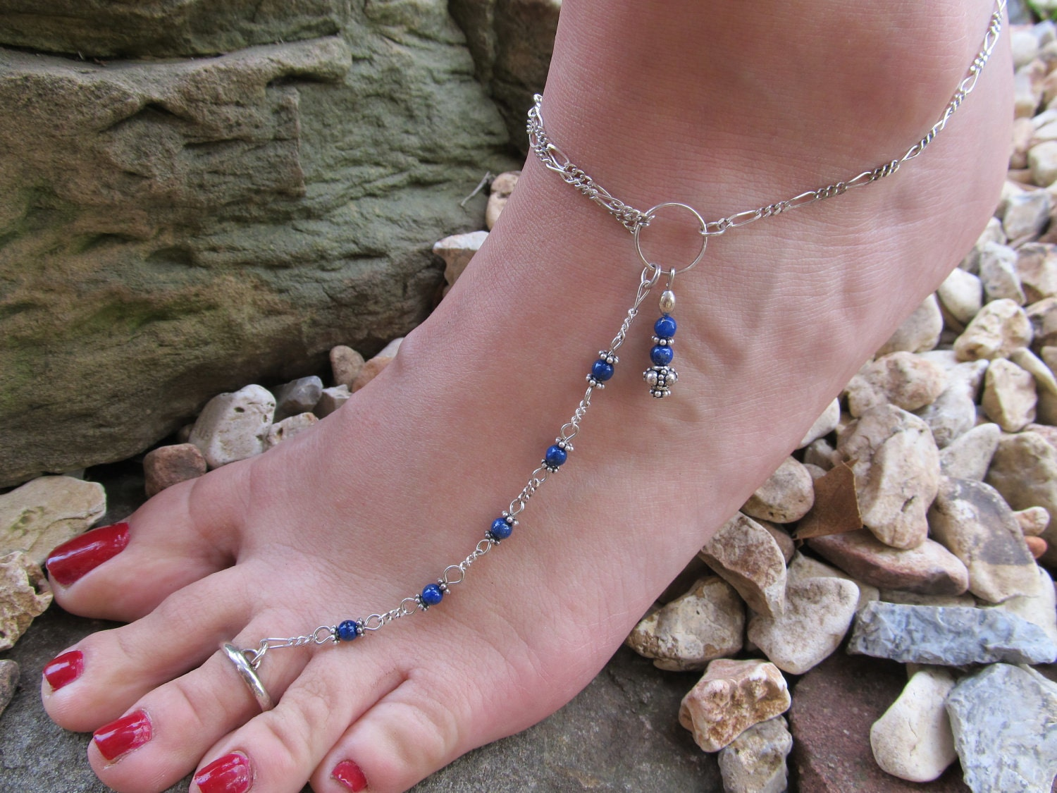 Anklet Deep Blue Lapis Sterling Silver Ankle Bracelet Toe Ring