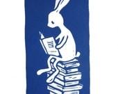 Linocut rabbit reading a book (blue version) - original linocut art print - nursery gift - handcarved and handprinted