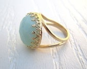 Amazonite Ring In 14k Gold  - 16mm Faceted Gemstone , Gold Ring , Gifts For Mom , Birthday Gift , Blue Ring