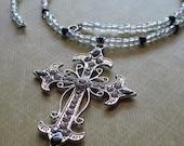 Reversible Metal Cross On Glass Beaded Handmade Necklace