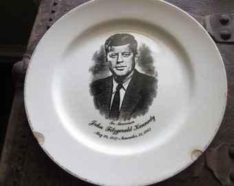 Vintage John Fitzgerald Kennedy Memoriam Plate