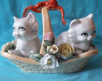 Adorable vintage Porcelain Kittens in Basket of flowers
