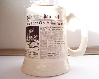 """Vintage """"Daily Journal Newspaper"""" Stein of Moon Landing from Tupelo Ms"""
