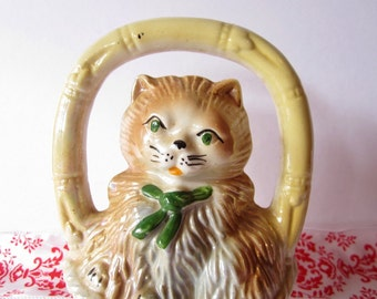 """Vintage Ceramic Kitten in """"Bamboo"""" Basket with Green Eyes & Bow"""