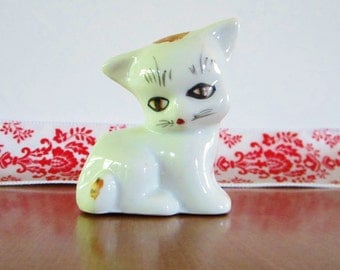 Vintage Ceramic White & Tan Colored Kitty from China
