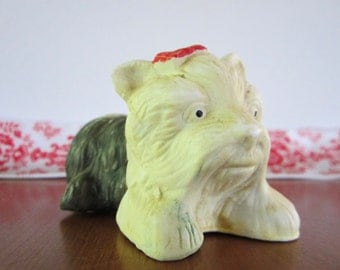 Funny Faced Ceramic Yorkshire Terrier with Red Bow