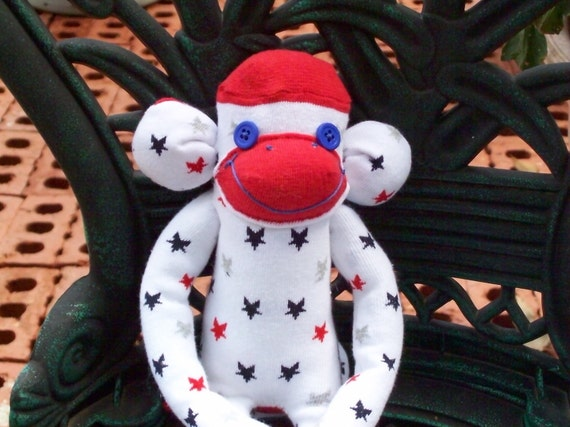 Pat The Patriotic Red, White & Blue Handmade Sock Monkey