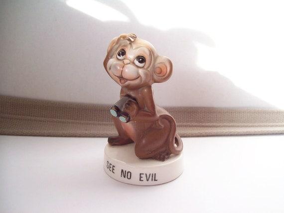 Reserved for Eyal --Vintage See No Evil Monkey Figurine