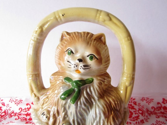 "Vintage Ceramic Kitten in ""Bamboo"" Basket with Green Eyes & Bow"