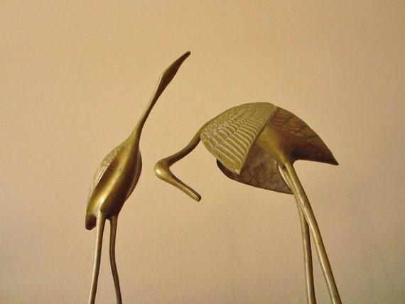 Vintage Pair of Large Brass Cranes