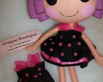 Doll Clothes Dress for Lalaloopsy Doll Pink and Black Cotton Polka Dot Print New