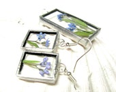 Beautiful Dried Flower Jewellery Set - Tiffany - Stained Glass - blue - FREE SHIPPING WORLDWIDE