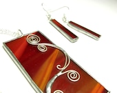 Beautiful Stained Glass Jewellery Set - Tiffany - Wire - Red - Pendant, Necklace, Earrings - FREE SHIPPING WORLDWIDE